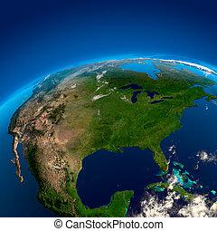 アメリカ, 人工衛星, 北, 光景