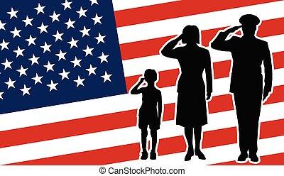 アメリカ, 兵士, 家族, 挨拶
