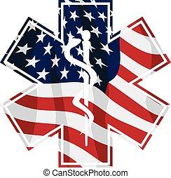 アメリカ, 医療のシンボル, ベクトル, サービス, emt, 隔離された, 愛国心が強い, イラスト, 医療補助員, 上塗り, 旗