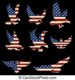 アメリカ, 印, セット, バックグラウンド。, ベクトル, 要素, ポスター, ワシ, デザイン, イラスト, 旗, 紋章, シルエット, ロゴ, label.