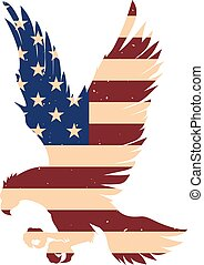 アメリカ, 印, バックグラウンド。, ベクトル, 要素, ポスター, ワシ, デザイン, イラスト, 旗, 紋章, シルエット, ロゴ, label.