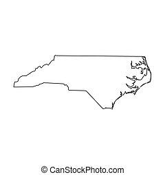 アメリカ, -, 固体, ベクトル, 単純である, 黒, 国, area., 北, 平ら, カロライナ, 州, イラスト...