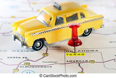 アメリカ, 地図, テキサス, タクシー