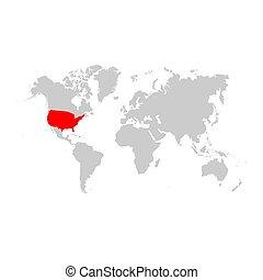 アメリカ, 地図, 世界