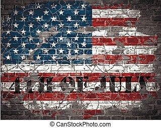 アメリカ, 壁, イラスト, 旗, れんが, 日, 独立