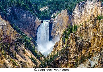 アメリカ, 峡谷, 壮大, イエローストーン, 風景, 光景