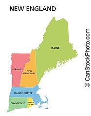 アメリカ, 州, ニューイングランド, 地域, 合併した, 地図, 地域, 有色人種