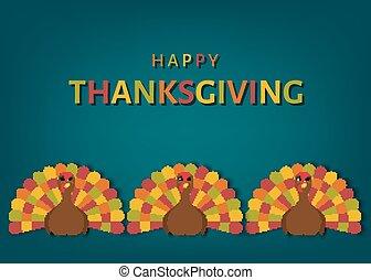 アメリカ, 感謝祭, 日, グリーティングカード, ∥で∥, カラフルである, かわいい, トルコ, bird.