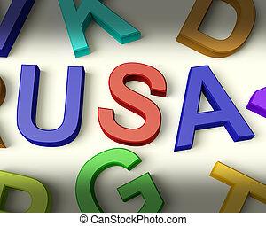 アメリカ, 書かれた, 中に, 多彩, プラスチック, 子供, 手紙