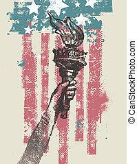 アメリカ, 自由, 抽象的, トーチ, -, イラスト, 手, ベクトル, 愛国心が強い, 図画