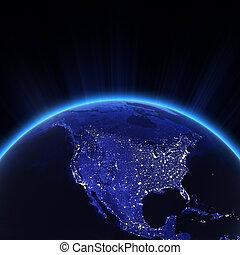 アメリカ, 都市ライト, 夜で