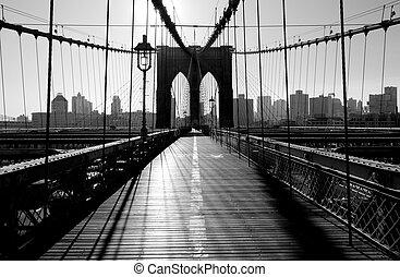 アメリカ, 都市, brooklyn, ヨーク, 新しい, マンハッタン, 橋