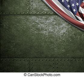 アメリカ, 金属, 旗, 緑の背景, 軍