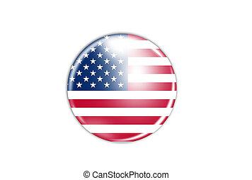 アメリカ, 隔離された, 旗, 背景, 白, アイコン