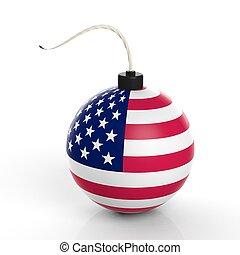 アメリカ, 隔離された, 爆弾, 砲弾, 旗, バックグラウンド。, 白