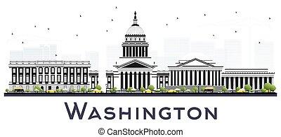 アメリカ, 隔離された, dc, ワシントン, white., スカイライン, 灰色, 都市, 建物
