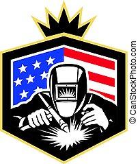 アメリカ, 頂上, 溶接, 溶接工, 弧, レトロ, 旗