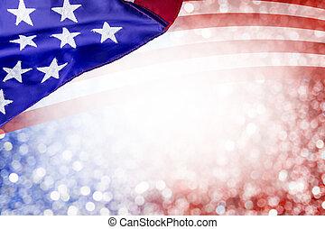 アメリカ, 7月, 独立, bokeh, デザイン, 他, 背景, 日, 4, 抽象的, 旗, 祝福