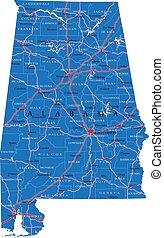 アラバマの地図, 政治的である, 州