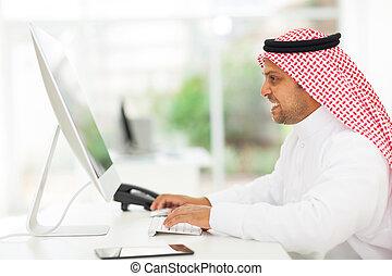 アラビア人, ビジネスマン, コンピュータ, 仕事