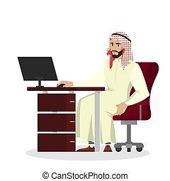 アラビア人, ビジネスマン, コンピュータ, 仕事, 机