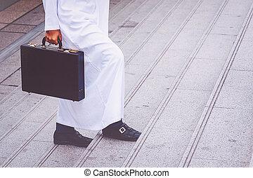 アラビア人, ビジネスマン, 袋, 保有物, 成功した