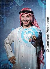アラビア人, 人, アイロンかけ, 事実上, ボタン, 中に, 未来派, 概念