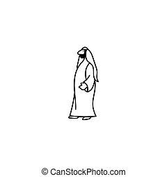 アラビア人, 人, 棒 図, アイコン