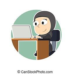 アラビア人, 円, ラップトップ, 女性実業家