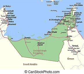 アラビア人, 合併した, map-a, emirates-world-countries-vector