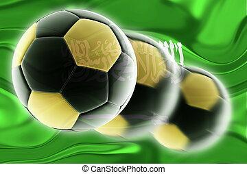 アラビア, サッカー, 旗, 波状, サウジアラビア人