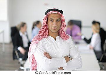 アラビア, ミーティング, ビジネス男