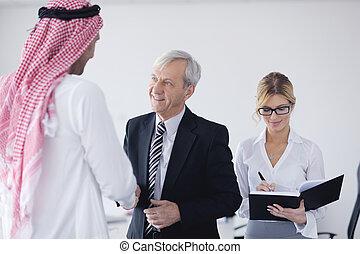 アラビア, ミーティング, 人, ビジネス