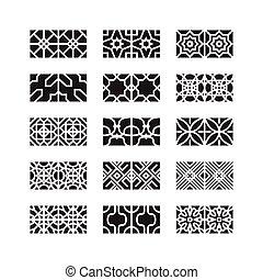 アラビア, 装飾, アイコン, ベクトル, セット