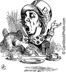 アリス, 帽子屋, 従事, 不思議の国, rhetoric, オリジナル, vintag