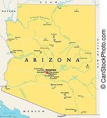 アリゾナ, 州, 合併した, 政治的である, 地図