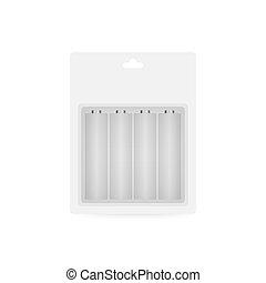 アルカリ, size., セット, 現実的, 別, スタイル, illustration., 電池, ベクトル, 株
