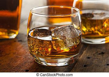 アルコール中毒患者, ウイスキー, バーボン, 中に, a, ガラス, ∥で∥, 氷