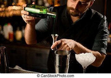 アルコール, びん, バーテンダー, 流れ, ジッガ