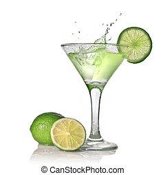 アルコール, カクテル, 隔離された, はね返し, 緑の白, ライム
