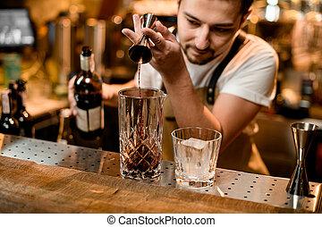 アルコール, ジッガ, たたきつける, ガラス, バーテンダー