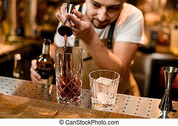 アルコール, ジッガ, ガラス, バーテンダー, 注ぎ込み