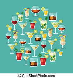 アルコール, メニュー, カクテル, list., 飲み物, ∥あるいは∥, ワイン