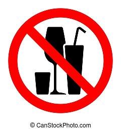 アルコール, 禁じられた, 止まれ, 禁止, 印, カクテル