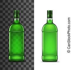アルコール, 飲みなさい, 緑, びん, ガラス