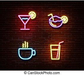 アルコール, effect., ライト, ネオン, 隔離された, ne, 装飾, ベクトル, coctail, サイン, シンボル, れんが, wall., 飲み物