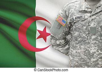 アルジェリア, -, アメリカ人, 兵士, 旗, 背景