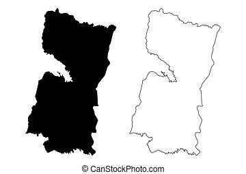 アルト, 地図, スケッチ, paran?, イラスト, paraguay), (departments, ベクトル, ...