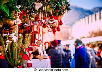アルト, trentino, クリスマス, イタリア, 装飾, 市場, adige