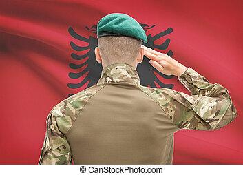 アルバニア, 力, シリーズ, 国民, -, 旗, 背景, 概念, 軍